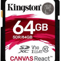 Card de memorie Kingston Canvas React, SDXC, 64 GB, 100 MB/s Citire, 80 MB/s Scriere, Clasa 10 UHS-I