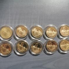 "Set 10 monede 50 bani ""Vizita Papei Francisc"" UNC in capsule"