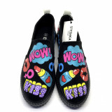 "Tenisi Hand Painted ""Pop Art"", 39, Negru, Textil"