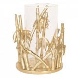 Suport lumanare din polirasina aurie cu pahar sticla Ø 16 cm x 19 h Elegant DecoLux, Clayre & Eef