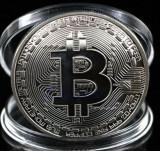 Moneda de colectie Bitcoin, argintie, America de Nord