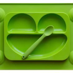 Farfurie autodiversificare si lingurita silicon Easymat Verde