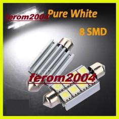 Led bec C5W FESTOON SOFIT CANBUS 8 SMD 5050 40 mm, culoare alb