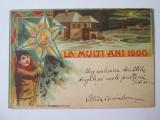 Cumpara ieftin Rara! Litografie:La Multi Ani 1900,carte postala circulata in Bucureșci 1900