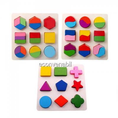 Puzzle 3D Educativ Copii o Plansa Forme Geometrice din Lemn foto