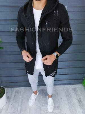 Cardigan barbati negru cu gluga slim fit ZR T3559 foto