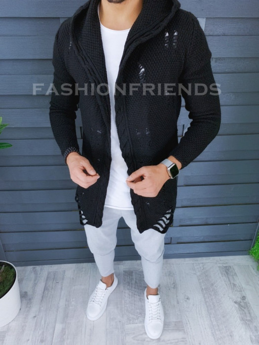 Cardigan barbati negru cu gluga slim fit ZR T3559
