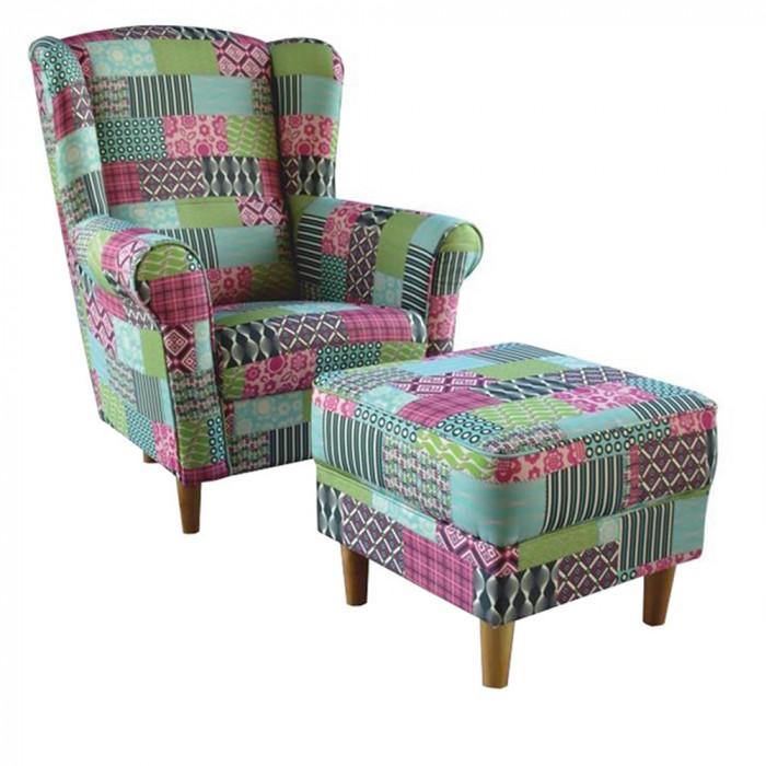 Fotoliu cu taburet, material textil in stilul patchwork M1, ASTRID