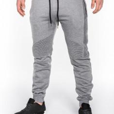Pantaloni pentru barbati gri deschis fermoare decorative banda jos cu siret bumbac p466