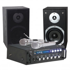 Set karaoke LTC, amplificator, 2 microfoane wireles, boxe 13 cm, negru