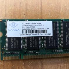 Ram Laptop Nanya 256MB DDR1 NT256D64SH8BAGM-6K
