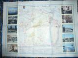 Harta Turistica a Judetului Braila 1985 ,cu ilustratii ,dim.= 86x63cm