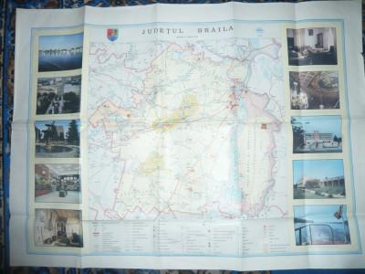 Harta Turistica a Judetului Braila 1985 ,cu ilustratii ,dim.= 86x63cm foto