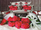 Lenjerie de pat dublu bumbac Print Love Rose
