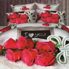Lenjerie de pat dublu bumbac Print Love Rose, 220x230 cm