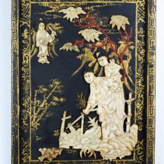 Panou vechi lemn arta japoneza Familie - pictat