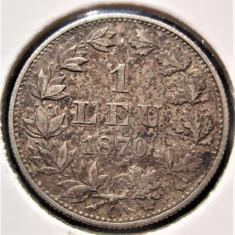 Carol I.....1 leu 1870....argint Romania....patina SUPERBA