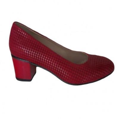 Pantof comod cu toc de inaltime medie, din piele ecologica rosie foto