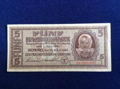 Bancnotă Ucraina - Bancnotă 5 Karbowanez 1942 (starea care se vede) foto