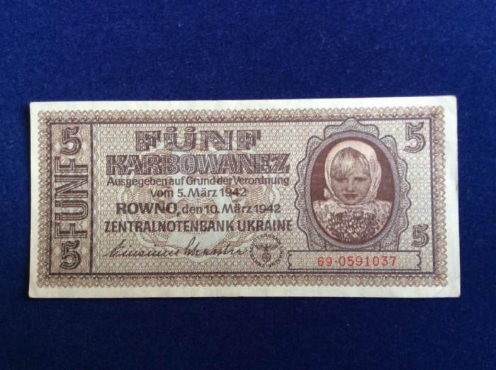 Bancnotă Ucraina - Bancnotă 5 Karbowanez 1942 (starea care se vede)