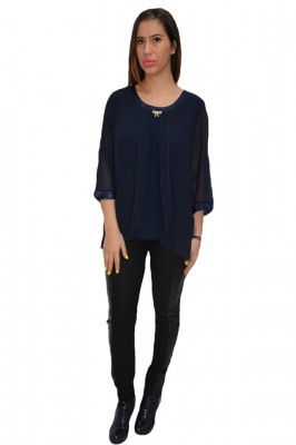 Bluza dama, lejera, din voal, in nuanta bleumarin foto