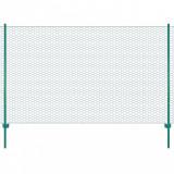 Gard din plasă de sârmă cu stâlpi, verde, 25 x 2 m, oțel, vidaXL