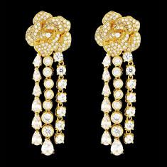 Cercei placati cu Aur 18K si Diamante, Olympia Gold