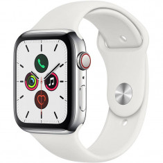 Smartwatch Apple Watch Series 5 GPS Cellular 44mm Stainless Steel Case White Sport Band S/M & M/L