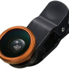 Kit Lentile Foto iUni 3-in-1 Macro, Wide Angle si FishEye compatibile cu Smartphone si Tableta, Auriu