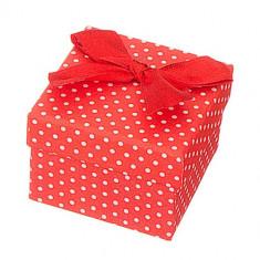 Cutie de cadou pentru bijuterii - buline albe cu fundă
