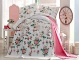 Cuvertura mare pat dublu, superba feminina, trandafiri flori roz, bumbac 100%