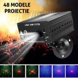 Proiector laser profesional cu 48 efecte luminoase, RGB, senzor sunet, telecomanda, interior