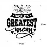 "Cumpara ieftin Sticker Mama ""World's greatest mom"", 50×47 cm, Alb, Oracal"