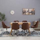 Scaune de masă cu rotile, 6 buc., maro, material textil