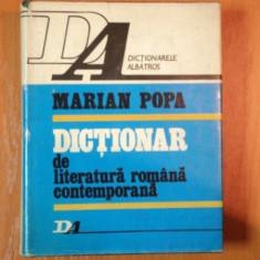 DICTIONAR DE LITERATURA ROMANA CONTEMPORANA de MARIAN POPA, 1977