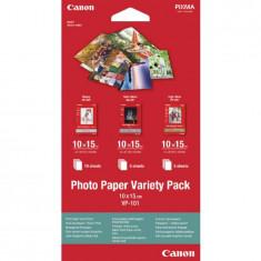 Hartie Foto Canon VP101, Finisaj Glossy x 10buc, Semi-Gloss x 5buc si High-Gloss x 5buc, 10x15cm