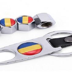 Set 4 capacele ventil roti Romania breloc capace drapel tricolor steag ro