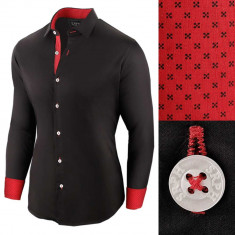Camasa pentru barbati negru bumbac regular fit Business Class Ultra