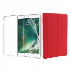 Set 3 in 1 husa carte, husa silicon si folie protectie ecran pentru iPad 9.7 inch 2017 / 2018 / A1893 / A1954 / A1822 / A1823, rosu