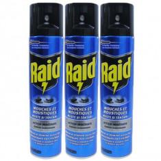 3 x Raid Muste si Tantari, Insecticid spray, 3 x 400ml