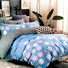 Lenjerie de pat din Bumbac Satinat pentru 2 persoane cu 4 piese F12B 42, 230x250 cm, Set complet