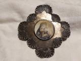 MEDALION PECTORAL argint FECIOARA MARIA cu PRUNCUL ISUS rar OPULENT exceptional