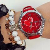 Ceas dama elegant rosu cu argintiu si imprimeu inima si curea din piele ECO Francesca
