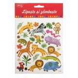 Abtibilduri DACO Lipeste si Zambeste, Model Jungla, Multicolor, 30 Buc/Set, Autocolante Copii, Stickere Decorative, Stickere pentru Copii, Abtibilduri