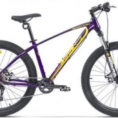 Bicicleta Pegas Drumuri Grele 17, Cadru 17inch, Roti 27.5inch, 10 Viteze (Mov/Galben)