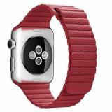 Curea Apple Watch Series /5/4 44mm / Series 3 2 1 Watch 42mm Piele Ecologica Magnetica Rosie