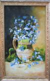 Tablou / Pictura vas cu flori albastre semnat Cimpoesu dupa Baesu
