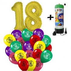 "Pachet majorat baloane ""18"", 2 folii aurii + 30 latex + 1 butelie heliu-2018112"