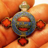 I.144 ROMANIA INSIGNA RELIGIOASA OASTEA DOMNULUI 32mm email, Romania 1900 - 1950