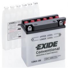 Baterie moto Acid cu intretinere EXIDE 12V 5Ah 40A R+ aerisire dreapta 120x60x130 Incarcare uscata cu acid